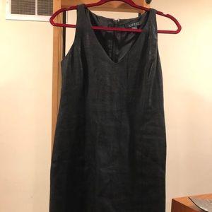 Linen-blend shiny black RL dress